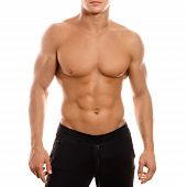 Young Sexy Muscular Macho Man Posing With Naked Torso On White Background poster