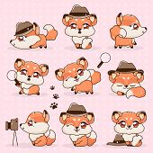 Set Kawaii Collection Fantasy Little Fox Cartoon. Sticker Pak Animals With Big Eyes. Red Fox Detecti poster