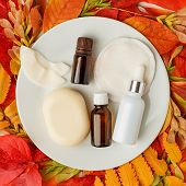 Spa, Sauna And Wellness Setting With Soap, Aroma Oil, Oil Essence, On Foliage Autumn Background. Fal poster
