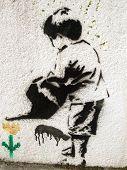 Grafitti Stencil Child And Flower