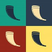 Color Traditional Ram Horn, Shofar Icon Isolated On Color Background. Rosh Hashanah, Jewish New Year poster