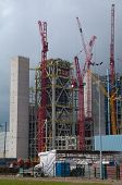 Construction Site With Big Red Crane