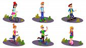 Teens Riding Electric Devices Flat Cartoon Vector Illustration. Boy On Hoverboard. Riding On Gyro Sc poster