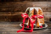 Traditional Italian Christmas Fruit Cake Panettone Pandoro With Festive Red Ribbon And Christmas Dec poster