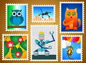 Set Of Colorful Postage Stamps