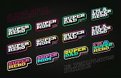 Retro Style Super Hero Sport Logo Set. Modern Professional Typography Super Mom, Dad Emblem Logotype poster