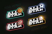 All Star Retro Style Sport Logo Set. Modern Professional Typography Basketball, Soccer, Football, Ru poster