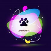 Black Paw Print Icon Isolated On Dark Blue Background. Dog Or Cat Paw Print. Animal Track. Abstract  poster