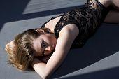 Girl In Combi Dress Under Harsh Sun Light