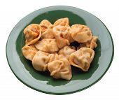 Dumplings On A Green Plate Isolated On White Background. Dumplings In Tomato Sauce. Dumplings Top Si poster