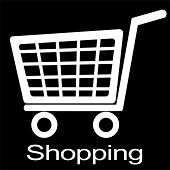 shopping cart illustration  black and white