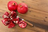 Details of the inside of a fresh pomegranate