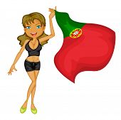 Illustration of a smiling girl with a national flag of Portugal on a white background