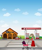 Illustration of a mother walking along a garage and gasoline station