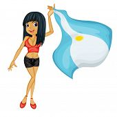 Illustration of a smiling girl with a national flag of Argentina on a white background