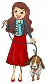 foto of friendship belt  - Illustration of a smiling girl and a dog on a white background - JPG