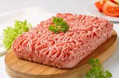 minced meat prepared for meatloaf