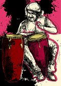stock photo of congas  - A hand drawn illustration  - JPG