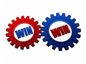 Win Win In Red And Blue Gearwheels