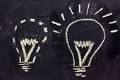Building A Concept, Funny Lightbulb On Blackboard