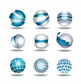 Globe sphere 3d icons set vector illustration