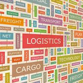 LOGISTIK. Wort-Collage. Vektor-Illustration.