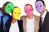 fake business teamwork concept group of business people with mask