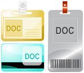 Doc. Id cards. Raster illustration.