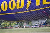 Spririt Of Goodyear Blimp Close Up On Ground