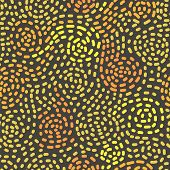 Abstract mosaic yellow swirls seamless pattern, vector