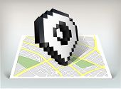 City map with pointer cursor icon vector illustration