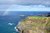 Azores Sao Miguel Mosteiros the western coast of the island in the sea cliffs rainbow