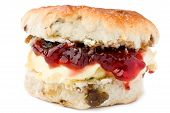 Scone With Strawbwey Jam And Clotted Cream.