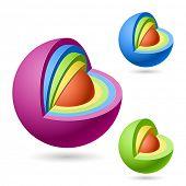 Cutaway sphere. Vector.