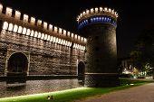 The Outer Wall Of Castello Sforzesco (sforza Castle) In Milan, Italy