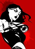 image of tommy-gun  - woman dressed in black with a gun in his hand  - JPG