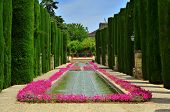 Patio de los Reyes in the gardens of Alcazar de los Reyes Cristianos in Cordoba, Spain