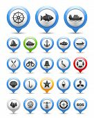 stock photo of fishing bobber  - Set of nautical and fishing icons - JPG