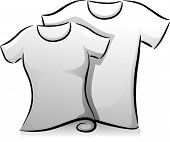 Black and White Illustration of a Pair of Men's and Women's Shirts