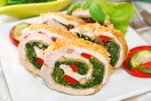 Chicken Roulade With Spinach For Christmas
