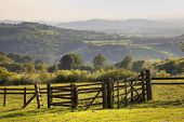 stock photo of hazy  - Rural landscape near the Cotswold village of Broadway - JPG