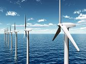 image of offshoring  - Computer generated 3D illustration with Wind Turbines - JPG