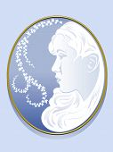 stock photo of cameos  - Cameo vector portrait of a young woman on Wedgewood blue background - JPG