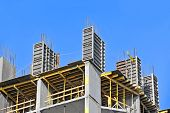 stock photo of formwork  - Concrete formwork with a folding mechanism and floor beams on construction site - JPG