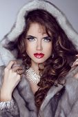 Fashion Sexy Model Girl With Red Lips Posing In Mink Fur Coat. Winter. Luxury Clothes