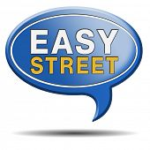 easy street indicating easy solutions or a way to avoid problems safe way no taking risk comfortable