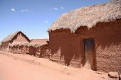Traditional village with clay buildings in Bolivia