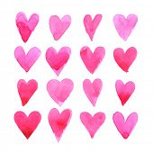 stock photo of amour  - Set of watercolor hearts - JPG
