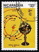 Postage Stamp Nicaragua 1985 Map Of Comet's Track