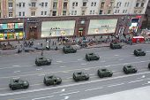 MOSCOW - MAY 3: Top view of the cars GAZ-2330 Tiger at the rehearsal of Victory Day parade on Tversk